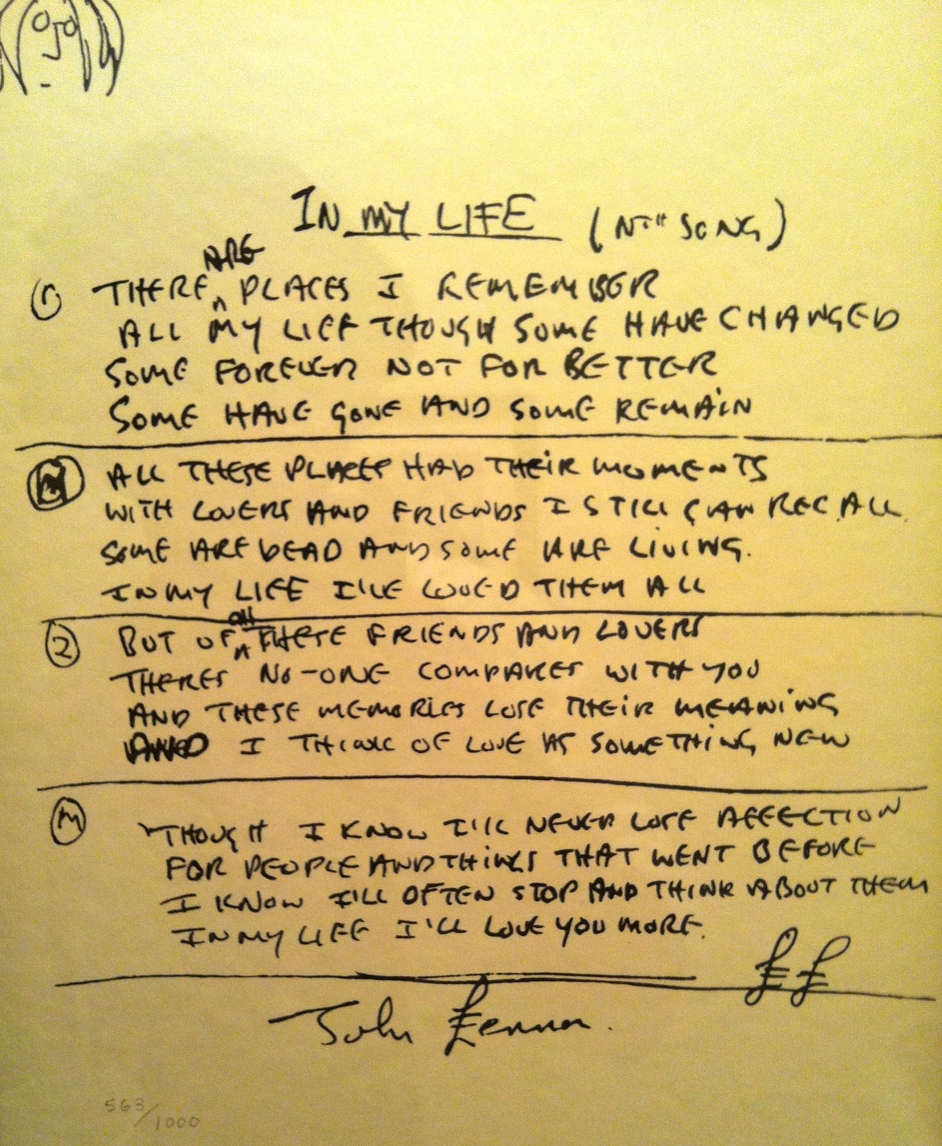 """In my Life"" John Lennon"