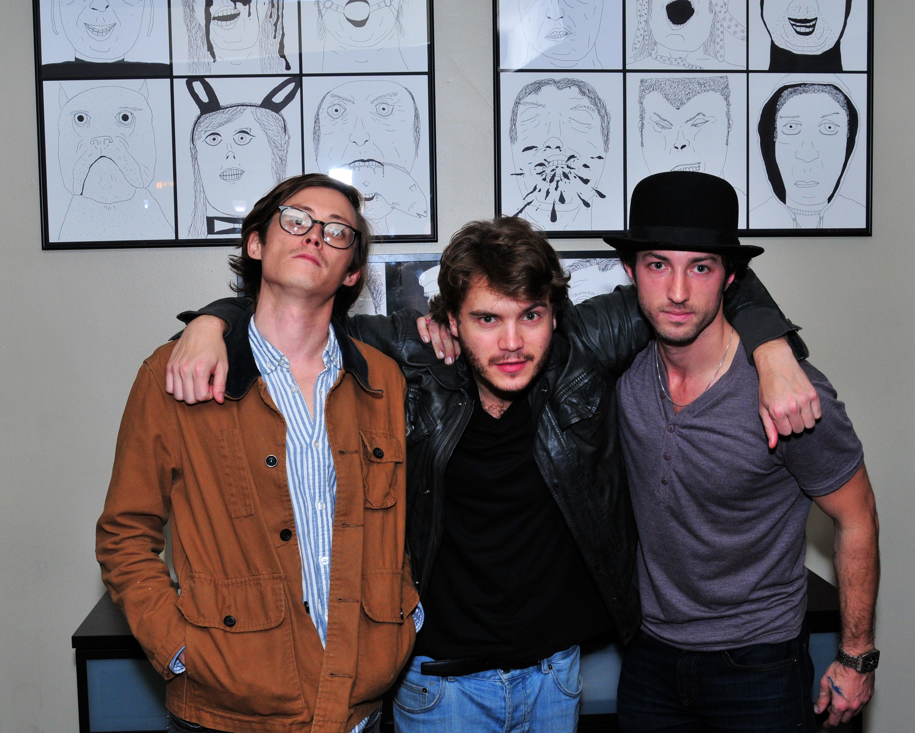 Ace Norton, Emile Hirsch, and Matt Smiley at the Hirsch / Norton / Smiley Art Show at 9 Olives on Sunset Blvd.