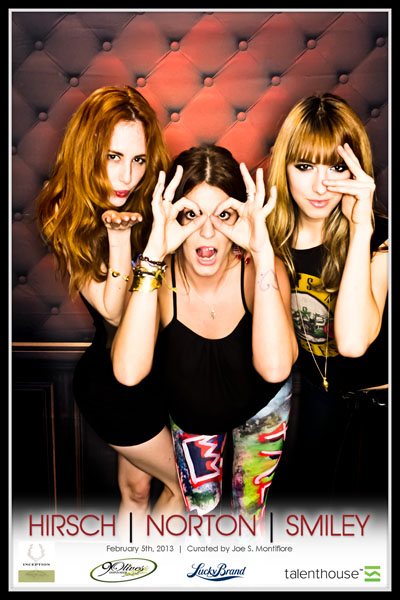 Faith Picozzi, Sophie Reeves & Lanchen Mihalic rocking out the photobooth at 9 Olives on Sunset Blvd.