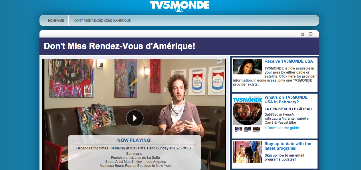 Matt Smiley on TV5 MONDE USA